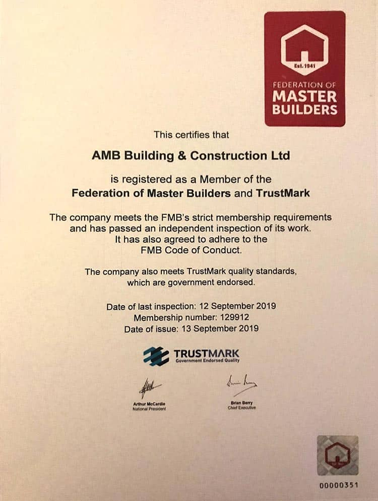 Federation of Master Builders Certificate for AMB Construction