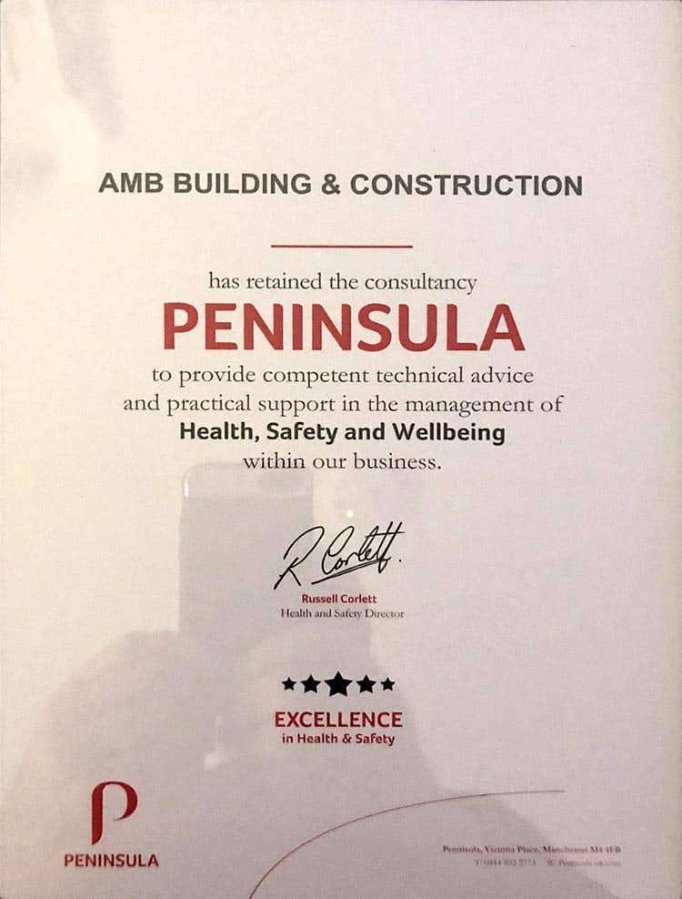Peninsula Health & Safety Certicate for AMB Construction
