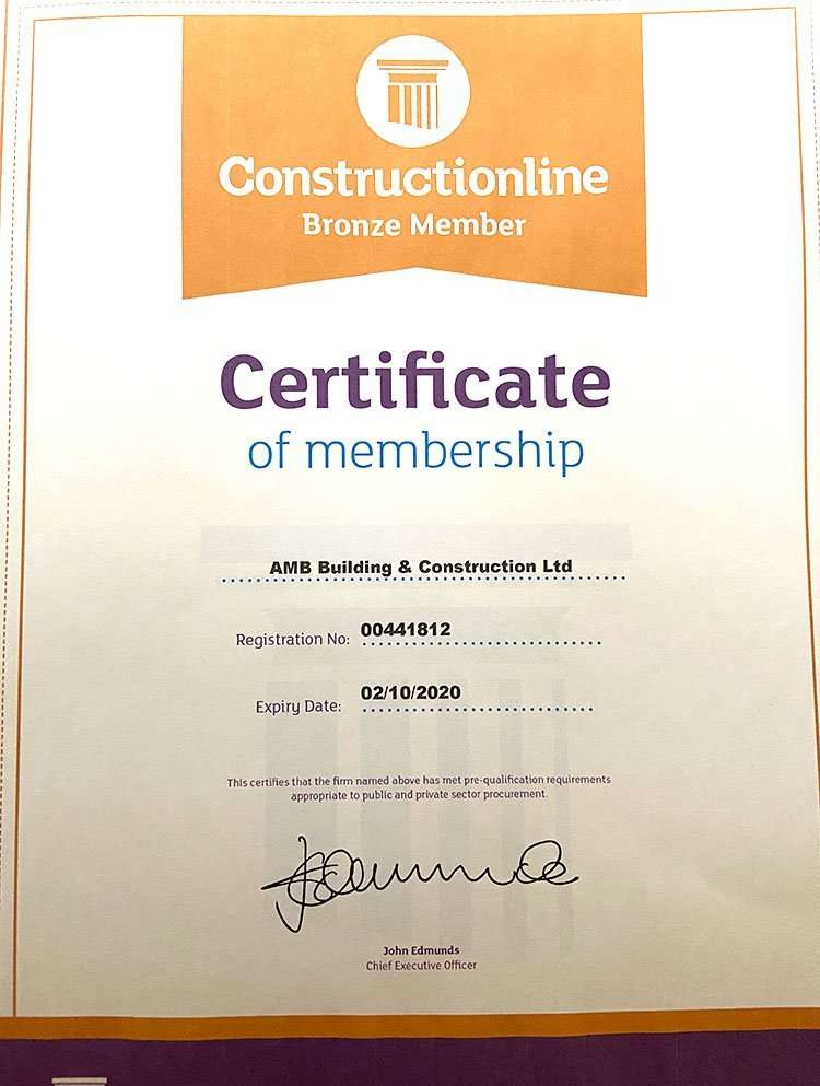 Bronze Constructionline Certificate for AMB Construction