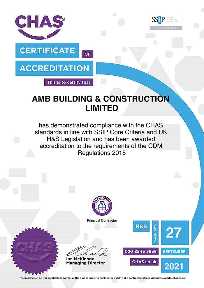 AMB Construction are a CHAS Accredited Builder in South Wales
